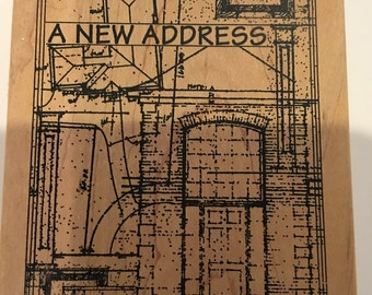 A New Address Wood Mount Rubber Stamp