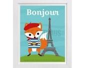 26T Fox Print - Bonjour - Fox in Paris Wall Art - Inspirational Quote - Inspirational Wall Art - Fox Decor - Fox Nursery Wall Art - Fox Art