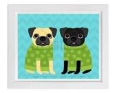 100D - Dog Decor - Fawn and Black Pugs in Sweaters Wall Art - Dog Print - Pug Print - Pug Drawing - Funny Pug Art - Dog Drawing - Cute Dogs