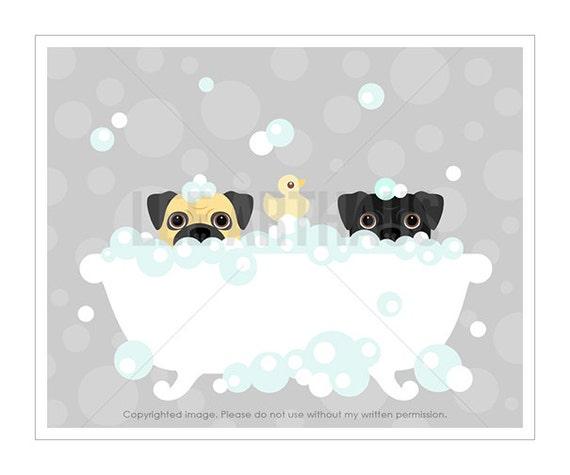 6F Dog Prints - Two Pugs in Bubble Bath Wall Art - Gray Nursery Art Prints - Bathroom Wall Art - Bath Home Decor - Pug Print - Gray Decor