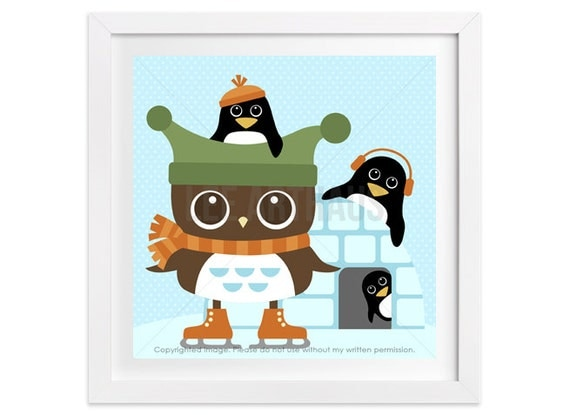 115 Penguin Print - Owl and Penguins Wall Art - Owl Print - Owl Wall Art - Penguin Wall Art - Woodland Nursery Owl Art - Ice Skating Print