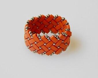 Basket Weave (Orange-Brick) Ring