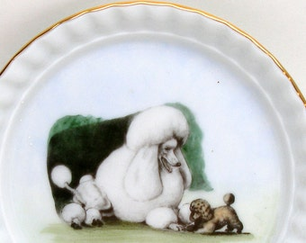 """Poodle & puppy porcelain dish, Made in Germany. 4.5""""."""