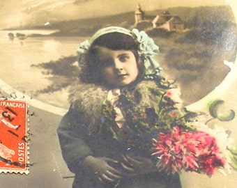1913 antique French postcard, Girl with flowers, RPPC paper ephemera.