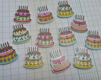 """Birthday Cake Buttons - Happy Birthday Cake Button - 1 1/2"""" - 12 Buttons"""
