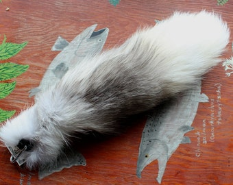 Fox tail - real eco-friendly Arctic marble fox fur totem tail on on carabiner keychain purse charm for shamanic ritual and dance