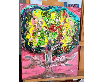 My Pink Tree  -  Original Mixed Media Painting  16 x 20 inches Canvas - By FLOR LARIOS