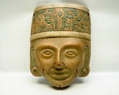Vintage terracotta mask - Mexico - smiling mask