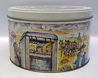Vintage storage tin - Amish country scenes
