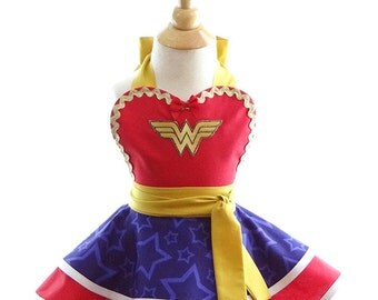 Children's Wonder Woman Girl Apron - for kids - Cute Girls Superhero Costume Apron for Dress Up & Play