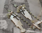 """Know When to Fold 'Em Antique Pearl Gaming Chip Sterling Silver 4"""" Dangling Earrings"""