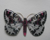 Signed Dalton Pink White Black Butterfly Pin Pendant
