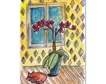 A Cat Asleep Next To An Orchid Pot, Cat Card, Cat Paintng, Original Watercolor, Cat art, Flower Art, Cat Stationery, Watercolor Cat