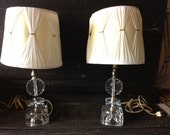 Vintage Cut Glass Pair of Table Top Lamps