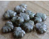 10% off SAGE MAPLE LEAVES .. 10 Picasso Czech Glass Leaf Beads 10x12mm (4669-10)