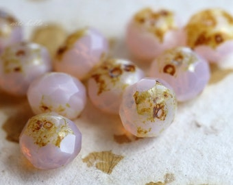 SOFTLY .. 10 Picasso Czech Glass Rondelle Beads 6x8-9mm (244-12)