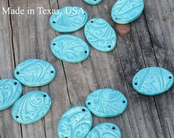 3 Aqua Oval Beads made of Pottery; ceramic beads, whimsy pattern