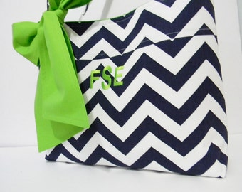 Navy Blue  Chevron Monogrammed Tote Bag, Every Day Bag, Diaper Bag with Green Sash Bow