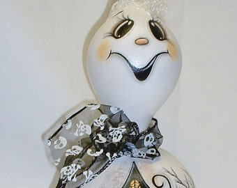 Halloween Ghost Gourd with Haunted House - Hand Painted