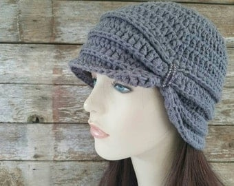 Vintage Inspired Cloche Hat with Glass Beading, Charcoal Gray Hat, Womens Hat, Cotton Hat, Flapper Hat, Turban Hat, Grey Hat, MADE TO ORDER