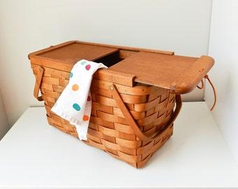 Picnic Basket Vintage Picnic Basket Wooden Hamper Wooden Picnic Basket