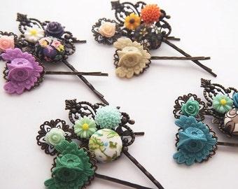 ON SALE Owl Bouquet Hair Pin Set of 3 - Classic  Sweet Fancy Pretty