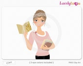 Woman reading book, holding books, character clipart digital PNG clip art (Cleo 633)
