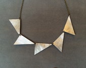 Triangles Gold Lame Leather Necklace
