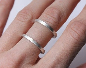 Sterling Silver Double Ring Silver Cage Ring, simple ring, minimalist ring, statement ring, double band ring