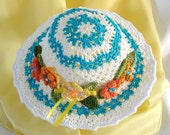 Doll Hat for 18 inch Doll Hat Summer Doll Hat Turquoise and White Hat Doll Hat American Girl Doll Hat Doll Accessory AG Doll Crochet Hat