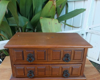 Vintage Price Import Taiwan Jewelry Box Mid Century Wood Two Drawer