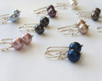 Silver Earrings Made With Swarovski Pearls