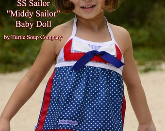 "Baby Doll ""SS Sailor"" - nautical swim diaper bathing suit tankini"