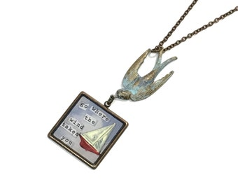 SALE Go Where the Wind Takes You collage pendant