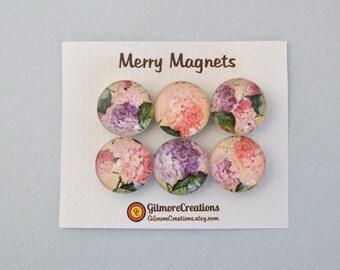 "Set of Magnets   Fridge Magnets  Glass Magnets  ""Hydrangea"""