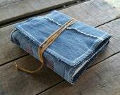 Blue Jean Journal, Medium Soft Cover Denim Journal Tie Wrap, Repurposed Blue Denim Art Journal , Medium Handmade Upcycled Denim Sketchbook