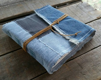 Blue Jean Sketchbook, Medium Soft Cover Denim Journal Tie Wrap, Repurposed Blue Denim Art Journal , Medium Handmade Upcycled Denim Journal