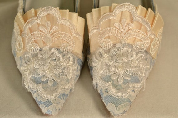 Special Size 8 - Marie Antoinette Blue and Ivory Lace Heels