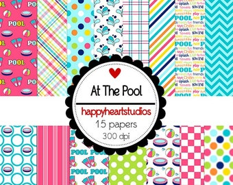Digital Scrapbook AtThePool-INSTANT DOWNLOAD