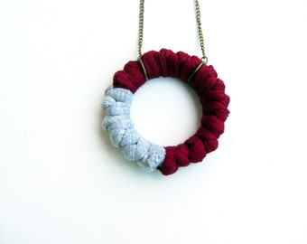 Gray and Maroon Necklace, Maroon Necklace, Gray Nercklace, Burgundy Necklace, Modern Jewelry, Urban Fashion, Woman Christmas Gift.