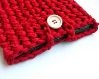 Red Crocheted Tablet Case, Red Knitted Laptop Case, Red Tshirt Yarn Tablet Case, Red Kindle Case, Woven Tablet Skin, Red Ipad Case.