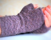 Gansey Lace Knit Armwarmers Cashmere Wool Lilac Lavender UK Seller Ready to Ship