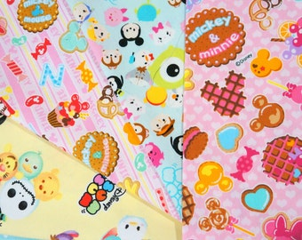 Disney fabric scrap Minnie  Mouse and Disney Tsum tsum  25 cm by 25 cm or 9.6 by 9.6 inches each piece  2016A