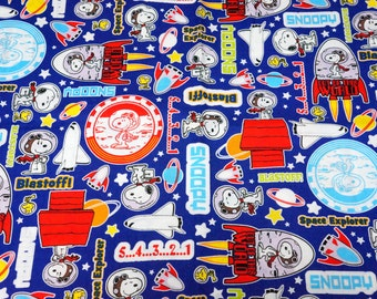 Snoopy print Japanese fabric 50 cm by  106  cm or 19.6 by 42  inches Half meter Snoopy and  Space Rocket