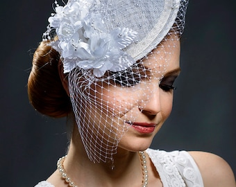 White bridal fascinator hat, stunning hat for the weddings, brides, races, parties-Last item available in 30%