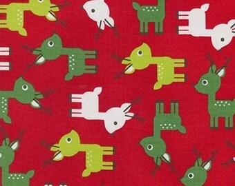 Two (2) Yards -Jingle 3 Christmas Holiday Reindeers by Robert Kaufman Fabrics AAK-15268-3 RED