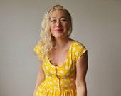 1980s Sunshine Dot Dress~Size Extra Small