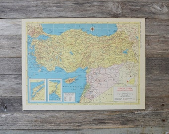 Turkey Map Vintage Map 1950s Map Colorful Map Syria Map Old Map Map decor Wall Decor