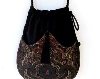 Black Velvet with Tapestry Pocket Bag  Black Velvet Bag With Tassel  Renaissance Bag