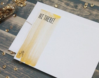 Gold Painted Stationery | Gold Stationary | Hi There Card | Watercolor Stationery | All Occasion Stationery | Stationary Set